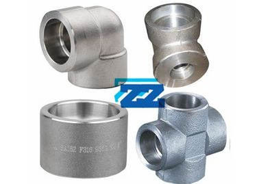 Stainless Steel Socket Weld Pipe Fittings 1 / 8 - 4 Inch Size 9000LB Pressure BS3799